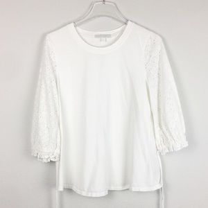 Eri + Ali | White Long Lace Sleeve Blouse | Small